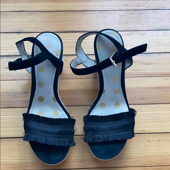 Boden Black Espadrilles Fringe Wedge Sandal Heels